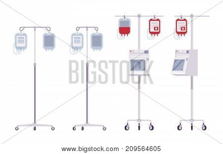 Medical dropper set. Containers with liquid, delivering medication or other drug. Vector flat style cartoon illustration on white background