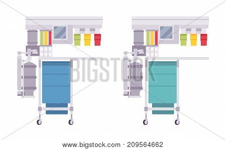 Anesthesia machine set. Anaesthesiologists tool, apparatus to deliver general anesthesia to patient during medical procedure. Vector flat style cartoon illustration on white background