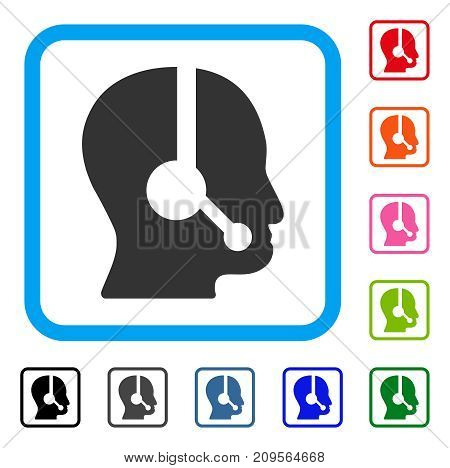 Call Center Operator icon. Flat gray pictogram symbol inside a light blue rounded rectangle. Black, gray, green, blue, red, orange color additional versions of Call Center Operator vector.