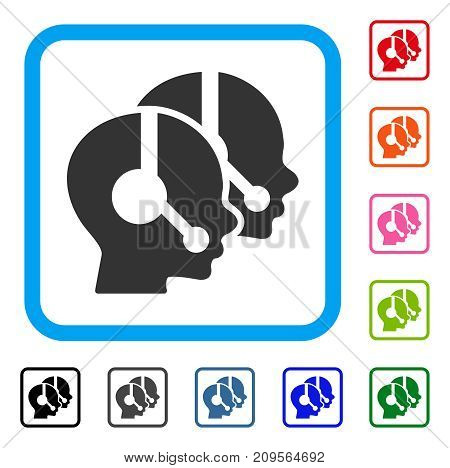 Call Center Operators icon. Flat gray iconic symbol in a light blue rounded squared frame. Black, gray, green, blue, red, orange color variants of Call Center Operators vector.