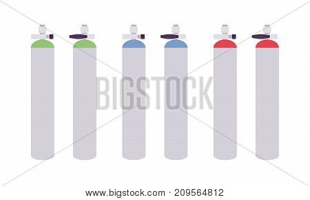 Gas tanks set. Supply systems in hospitals, compressed medical holders, for storage oxygen. Vector flat style cartoon illustration on white background