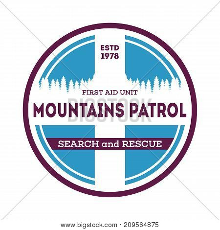 Mountains patrol, search and rescue isolated label. Nature tourism badge, adventure outdoor emblem, expedition help vintage vector illustration