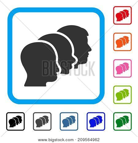Client Profiles icon. Flat gray iconic symbol inside a light blue rounded rectangular frame. Black, gray, green, blue, red, orange color variants of Client Profiles vector.