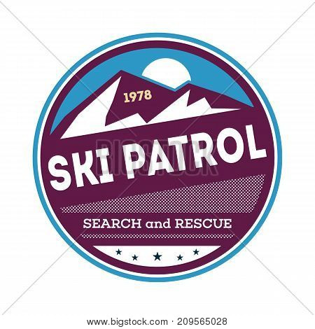Professional ski patrol isolated label. Hiking and climbing badge, adventure outdoor emblem, expedition help vintage vector illustration