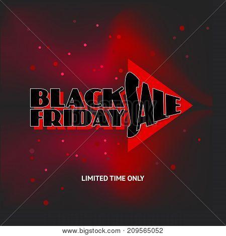 Black Friday Sale advert on black background. Vector illustration. Black Friday sale inscription design template. Black Friday sale banner.