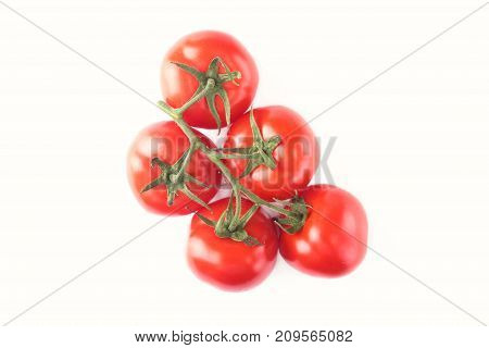 Fresh tomatoes Isolated on white background. Selective focus