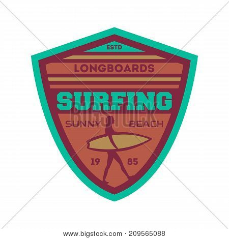 Longboard surfing vintage isolated label. Windsurfing society badge, sport center sign, summer beach activity vector illustration.