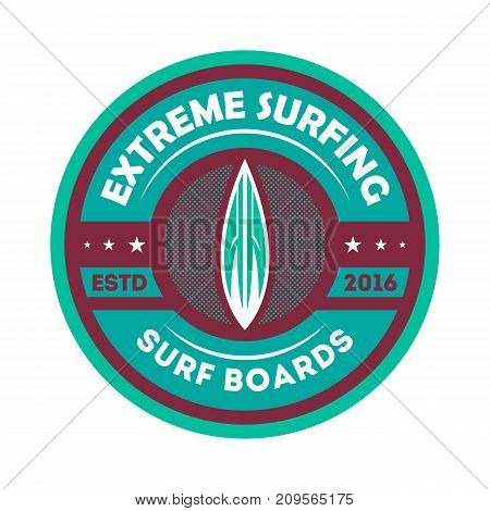 Extreme surfing vintage isolated label. Windsurfing society badge, sport center sign, summer beach activity vector illustration.