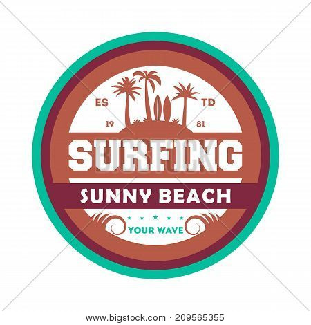 Extreme waves surfing vintage isolated label. Windsurfing society badge, sport center sign, sea activity vector illustration.