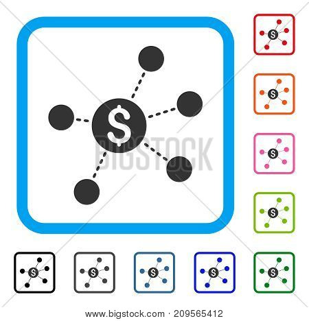 Dollar Virtual Links icon. Flat grey iconic symbol inside a light blue rounded rectangle. Black, gray, green, blue, red, orange color additional versions of Dollar Virtual Links vector.