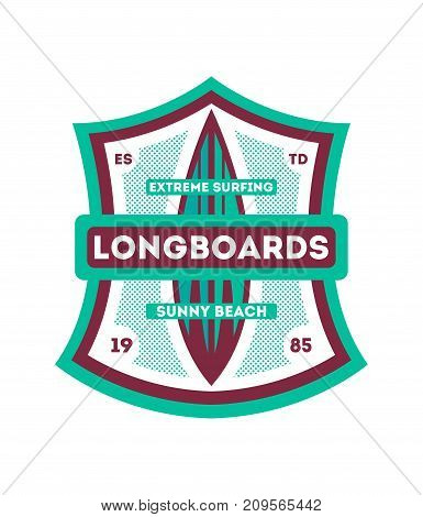Extreme surfing club vintage isolated label. Windsurfing society badge, sport center sign, sea activity vector illustration.