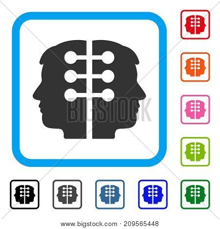 Dual Head Interface icon. Flat gray pictogram symbol in a light blue rounded rectangle. Black, gray, green, blue, red, orange color variants of Dual Head Interface vector.