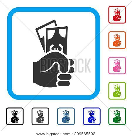 Euro Banknotes Salary icon. Flat gray iconic symbol in a light blue rounded squared frame. Black, gray, green, blue, red, orange color variants of Euro Banknotes Salary vector.