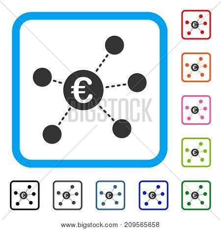 Euro Virtual Links icon. Flat gray iconic symbol inside a light blue rounded square. Black, gray, green, blue, red, orange color variants of Euro Virtual Links vector.