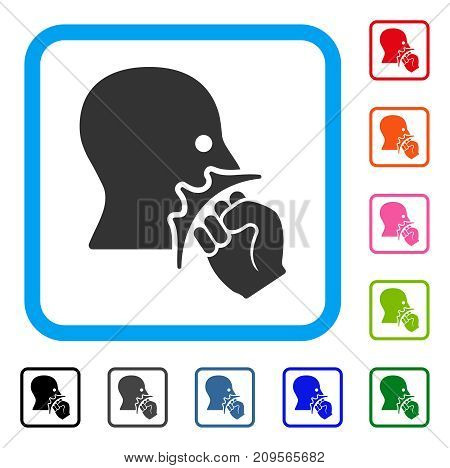 Face Violence Strike icon. Flat gray iconic symbol in a light blue rounded rectangle. Black, gray, green, blue, red, orange color additional versions of Face Violence Strike vector.