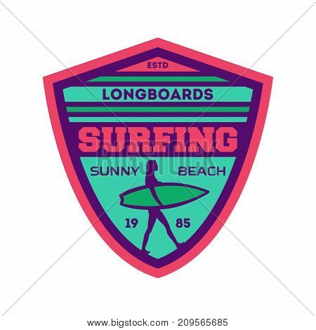 Longboard surfing camp vintage isolated label. Windsurfing society badge, sport center sign, summer beach activity vector illustration.