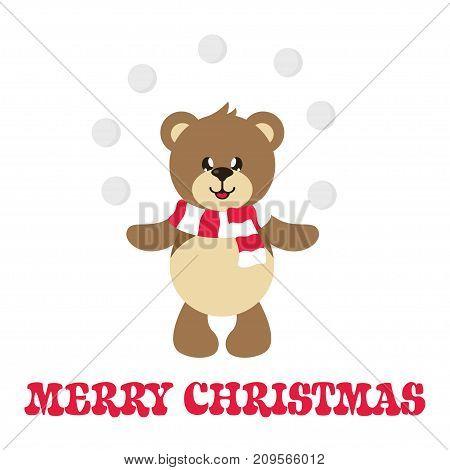 cartoon cute bear with snowball and text