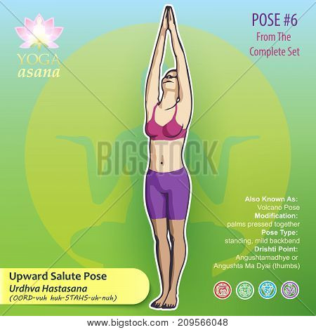 Iillustration of Yoga Exercises with full text description names and symbols of the involved chakras. Female figure showing the position of the body posture or asana in standing position.
