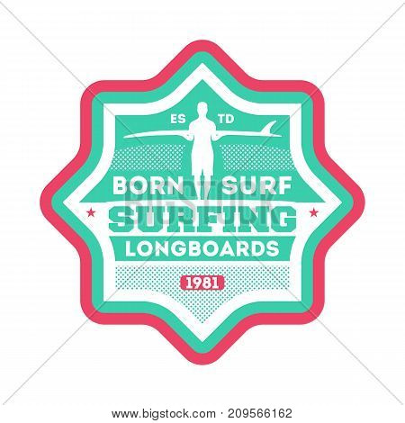 Waves surfing club vintage isolated label. Windsurfing society badge, sport center sign, sea activity vector illustration.