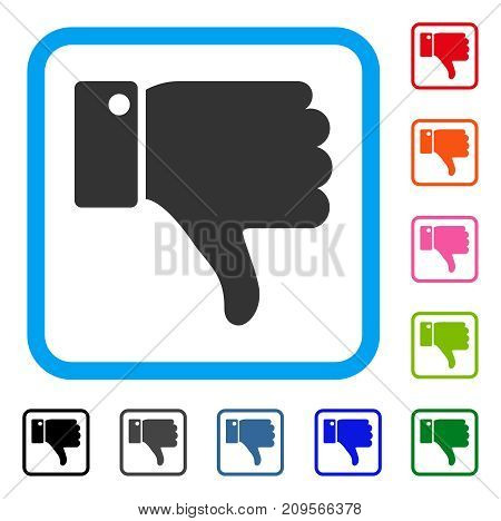Thumb Down icon. Flat gray iconic symbol in a light blue rounded rectangular frame. Black, gray, green, blue, red, orange color variants of Thumb Down vector.