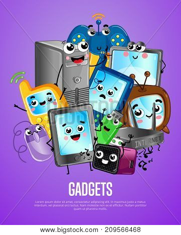 Funny computer gadgets cartoon poster. Monitor, wi-fi router, mobile phone, tablet PC, wireless gamepad, computer mouse, usb flash drive characters. Home electronic device comic vector illustration