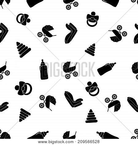 Child seamless black and white pattern with pram baby car seat nipple baby bottle pyramid. Vector illustration.