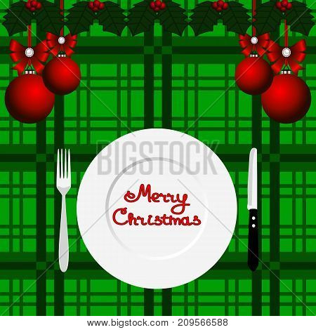 Christmas card. Christmas dinner. Dinner time. Cutlery. Flat design Vector illustration