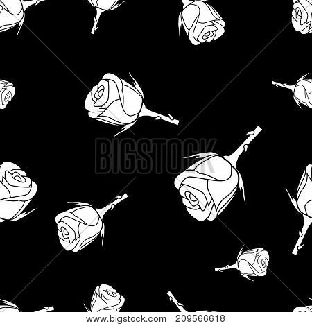 Seamless pattern of white silhouette roses on a black background with template in swatches palette . Easy to use. Vector illustration.