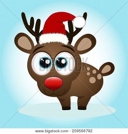 Christmas Reindeer. Christmas card. Funny reindeer in a Santa suit. Vector illustration.