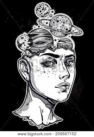 Portriat of girl with head, planets, Saturn, space inside her. Dotwork surreal flash design. Vector illustration isolated. Manga style, sci-fi, tattoo art. T-shirt print. Dreamer, astronomy sticker.