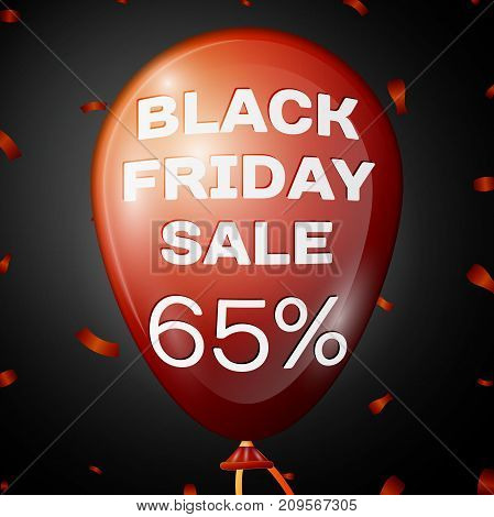 Realistic Shiny Red Balloon with text Black Friday Sale Sixty five percent for discount over black background. Black Friday balloon concept for your business template. Vector illustration