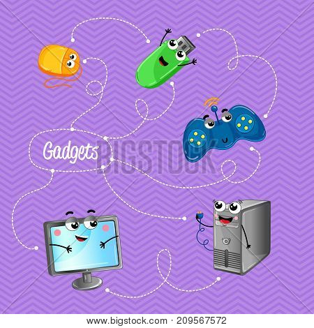 Funny computer gadgets banner with monitor, usb flash drive, computer mouse, wireless gamepad and computer system unit characters. Electronic technique comic cartoon vector illustration