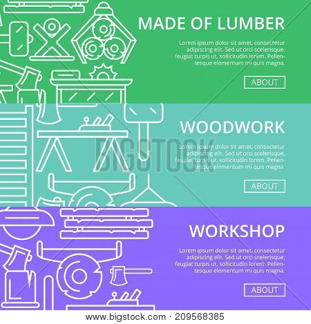 Workshop lumber posters in linear style. Carpentry product and equipment, vintage sawmill banner, woodwork tool concept. Log, ax, plane, table, circular saw, lamp, chair vector illustration.