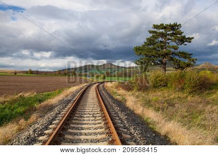 Single railway track in Rana Central Bohemian Highlands Czech Republic