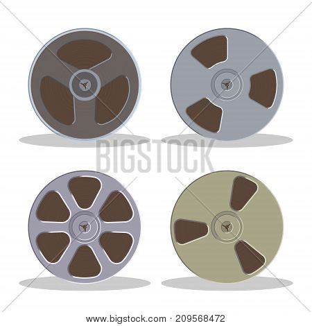 Retro bobbin audio cassette isolated on a white background. Vintage style music storage icon. Old record player tape. Vector illustration.