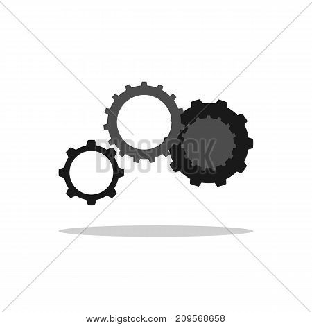 Set of connected cogwheels. Collection of mechanical gears