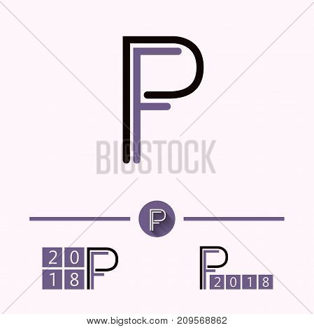 Initial letter PF logo design in purple theme
