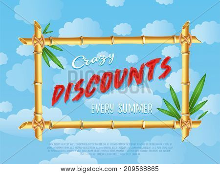 Crazy discounts sale poster in cartoon style. Summer proposition in bamboo frame on background of blue sky. Best offer advertisement for retail, seasonal shopping promotion vector illustration.