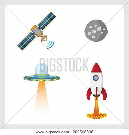 Set of cosmic icons in vector colored illustration