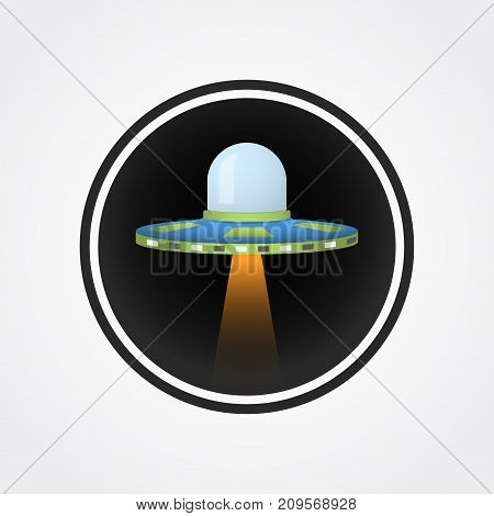 Ufo aircraft with light vector illustration logo