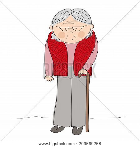Old lady or grandmother with walking stick - standing cartoon character - original hand drawn illustration