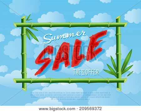 Summer sale poster for retail network. Discount proposition in bamboo frame on background of blue sky. Best offer advertisement, sale marketing, seasonal shopping promotion vector illustration.