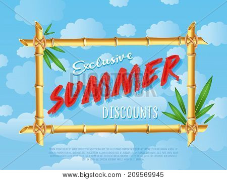 Exclusive summer discounts poster. Discount proposition in bamboo frame on background of blue sky. Best offer advertisement for retail, seasonal shopping, sale promotion vector illustration.
