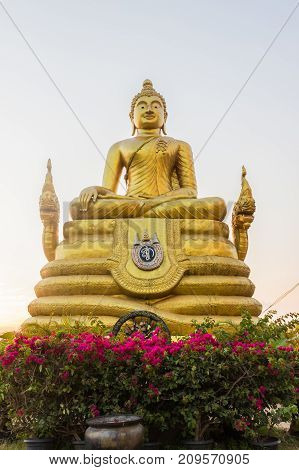 Front view of Buddha statue surrounding the Big Buddha statue at Nakkird mountain Phuket Thailand. Phuket Big Buddha is a local landmark and a place for both tourists and devout Buddhists to visit.