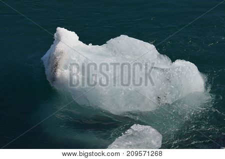 Chunk of a Glacier floating in an Iceand Lagoon