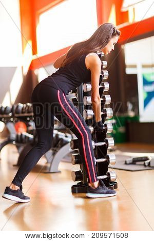 Young beautiful woman taking dumbbells in a gym. A beautiful girl enjoys the process of training. Will work with dumbbells.