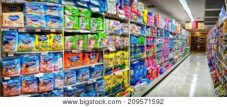 BANGKOK THAILAND - OCTOBER 19: Foodland Supermarket in Victoria Gardens fully stocks various brands of diapers in aisle 5 in Bangkok on October 19 2017.