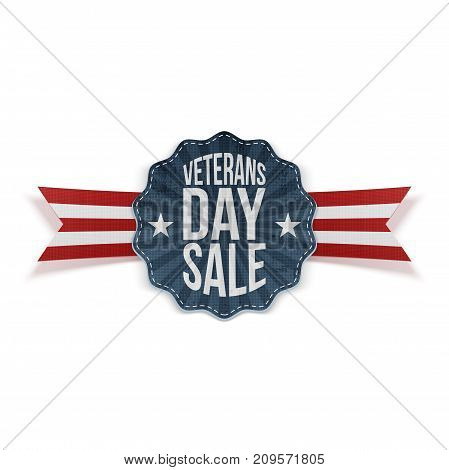 Veterans Day Sale blue Sign with Ribbon. Vector Illustration