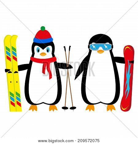 cartoon penguins snowboarder and skier on a white background