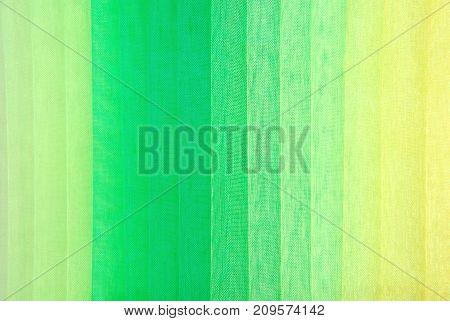 closeup of the green colors organza fabric